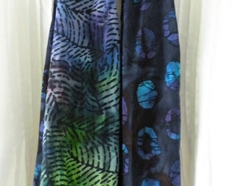Women's long scarf. Crochet woven knit fashion, batik indie cotton purple blue teal leaf print hipster Bohemian Lhasa i825