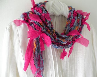 Crochet scarf women's multicolor knit silk fashion, wool magenta pink purple orange blue green fiber art i611 Life's  an Expedition Lhasa