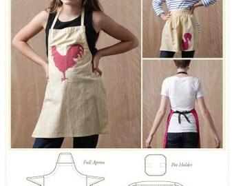Kids Apron Sewing Pattern, Kids Full Apron Sewing Pattern, Women's Full Apron Pattern, Multi Sized Apron Pattern, pot holder sewing pattern
