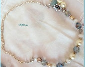 Vintage Style Aqua,Teal AB crystals Swarovski Pearls Poly Clay Chunky Charm Necklace