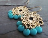 MERANDA-Gold Metal Lace Floral Chandelier Earrings with Teal Round Disc Drops