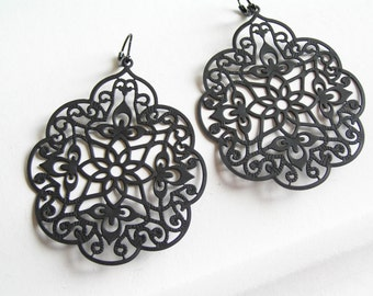 INDIA Matte Black Earrings
