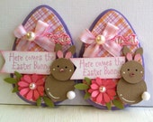 Sweet Easter Egg Embellishments - Happy Easter - Bunnies - Pink
