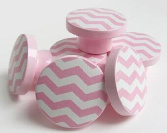 Pink Chevron Knobs, Pink Chevron Drawer Knobs, Chevron Dresser Knobs - Wood Knobs- 1 1/2 Inches - Made-to-Order