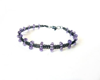 Amethyst Bracelet -  Oxidized Sterling Silver Magnetic Friendship Bracelet - Free Shipping