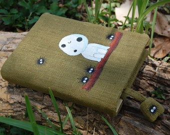 "Notebook with Princess Mononoke ""Kodama"" Hand Painted on green cotton Cover A6"