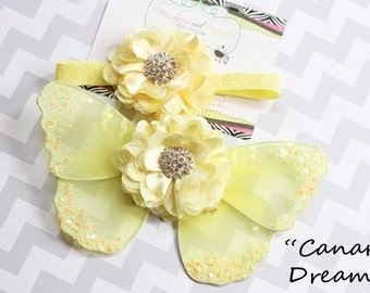 Butterfly wings, Newborn wings, Canary Dreams Yellow Fairy Butterfly Wings Headband set Sequin Fancy Newborn Girl Couture Photography prop