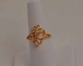 Opal and CZ Diamond Ring