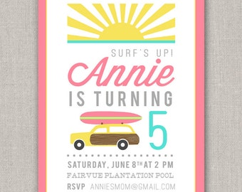 Surfer Girl Birthday Invitation