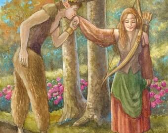 Diana and the Satyr- A Fantasy Glicee Print