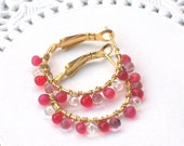 Almost Cha Cha- Beaded Gold Hoop Earrings - Red Purple White