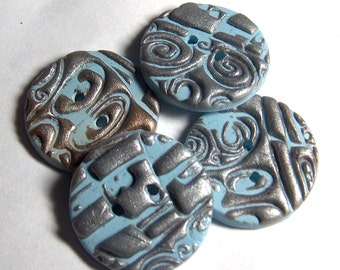 Large Blue and Silver Buttons No.191