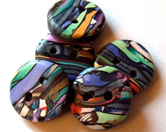 Stroppel Cane Buttons in Blue, Purple, Yellow, Green, and White No. 42b