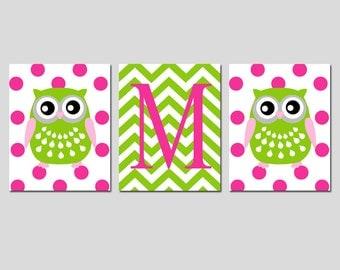 Owl Nursery Art Trio - Set of Three 11x14 Prints - Polka Dot Owls and Chevron Monogram Initial - Kids Wall Art - CHOOSE YOUR COLORS