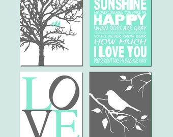 Mint Nursery Art Quad - Set of Four Prints - You Are My Sunshine, Love, Birds in a Tree, Bird on a Branch - CHOOSE YOUR COLORS