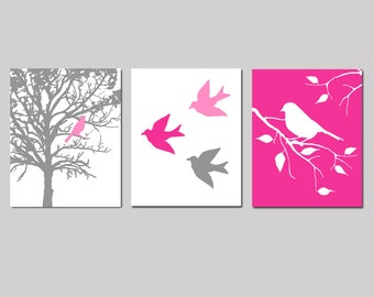 Nursery Art Prints - Modern Bird Trio - Set of Three 11x14 Prints - Birds and Trees - CHOOSE YOUR COLORS - Shown in Gray, Hot Pink, and More