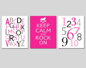Modern Nursery Art Trio - Set of Three 11x14 Prints - Alphabet, Numbers, Keep Calm and Rock On - Kids Wall Art - CHOOSE YOUR COLORS