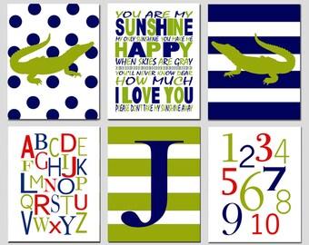 Alligator Nursery - Set of Six 11x14 Prints - Kids Wall Art - Alphabet, Numbers, Alligators, Monogram Initial - CHOOSE YOUR COLORS