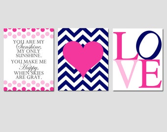 Girl Nursery Art Trio - Set of Three 8x10 Prints - Kids Wall Art - You Are My Sunshine, Chevron Heart, Love - CHOOSE YOUR COLORS
