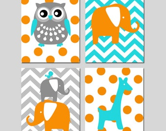Modern Nursery Quad - Set of Four 11x14 Prints - Kids Animal Wall Art - Owl, Elephant, Bird, Giraffe - Choose Your Colors