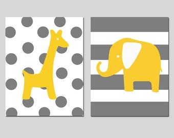 Elephant Giraffe Nursery Art Duo - Set of Two 8x10 Prints - Polka Dot Giraffe and Striped Elephant - CHOOSE YOUR COLORS