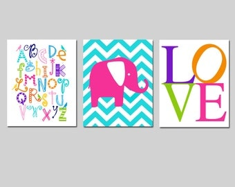 Baby Girl Nursery Art Trio - Set of Three 8x10 Prints - Bird Alphabet, Chevron Elephant, Love Typography - CHOOSE YOUR COLORS