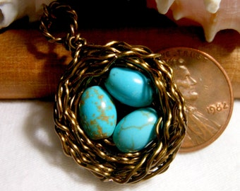 Birds Nest Necklace Solid Copper with Speckled Robins Eggs Gemstone Wire Wrapped