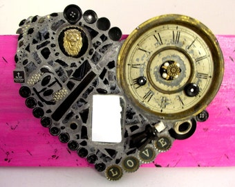 Black Heart Mosaic Assemblage - found object scripture art - pink - steampunk -mirror
