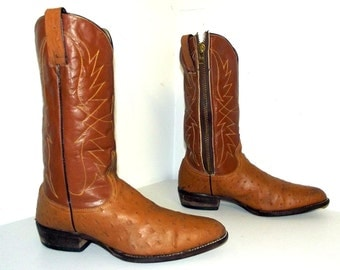 Altered Faux Ostrich Leather cowboy boots 11 D -tan brown