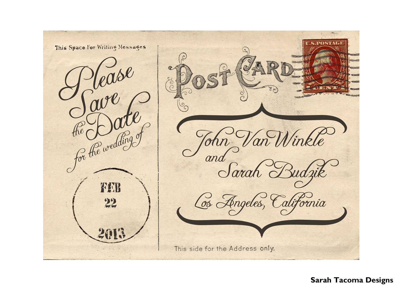 Vintage Antique Postcard Engagement Save the Date Announcement