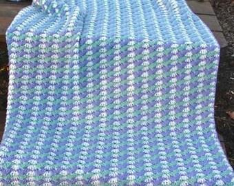 Textured Shells Afghan Crochet Pattern PDF