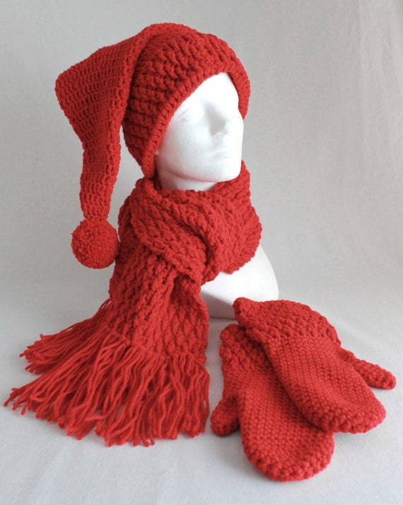 Crochet Pattern Stocking Hat : Stocking Hat Scarf and Mitten Set Crochet Pattern PDF
