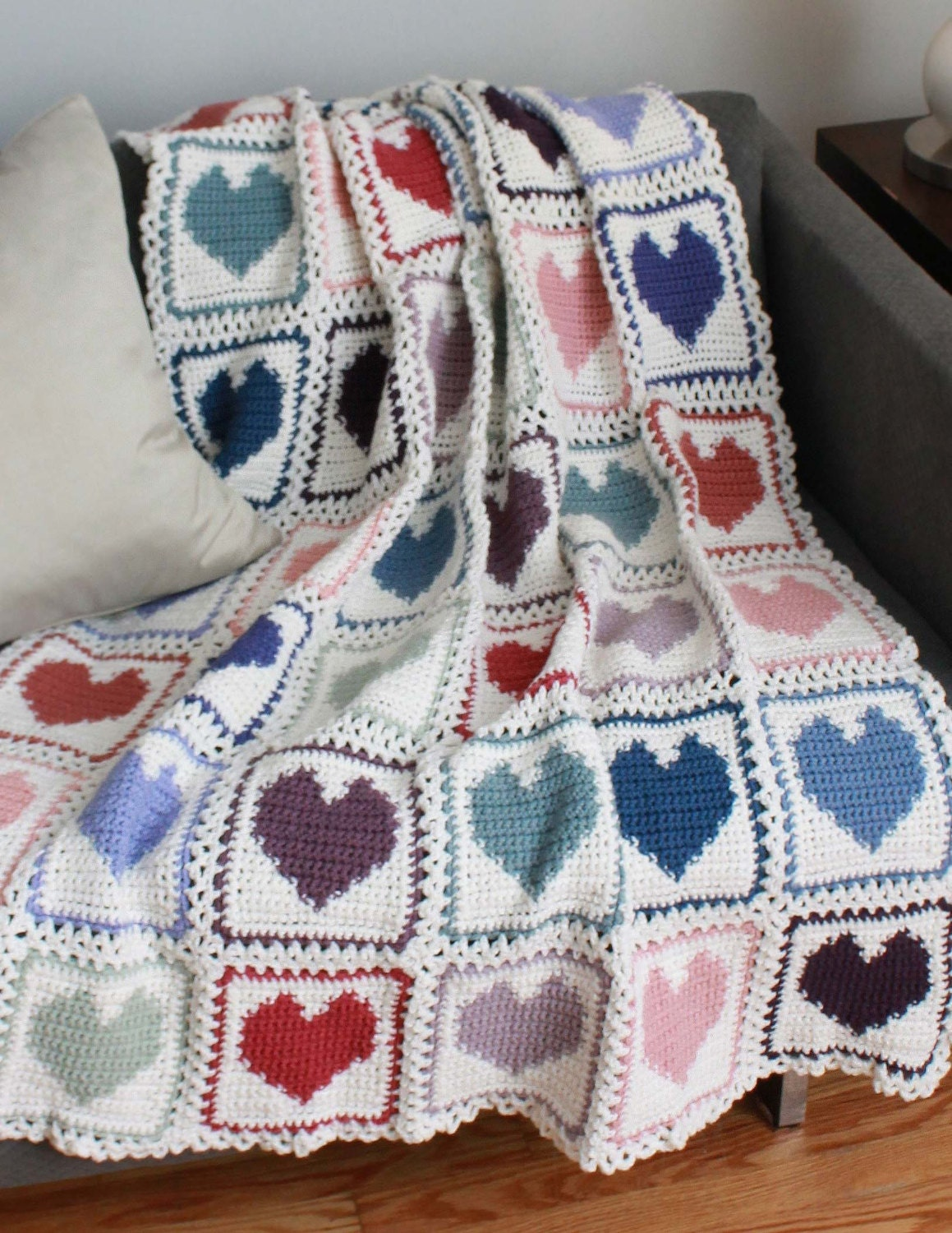 Crochet Afghan Patterns With Hearts : Scrap Hearts Afghan Pattern PDF