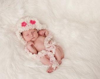 Pink Baby Hat Crochet Newborn Photo Prop Hat 12-18 Months Size