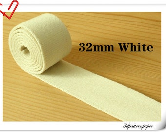 5 yards of 1.25 inch (32mm)  Heavy weight cotton webbing White ZD8