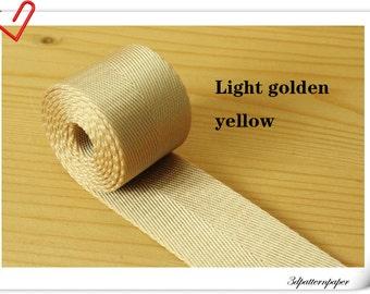 5 yards of 2 inch (5cm) Heavy weight Nylon webbing Light golden yellow  ZA64