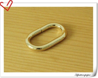 1.25 inch Heavy duty light gold purse Oval ring wire formed oval loop connector  10 pieces U107
