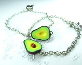 Friendship Bracelet Avocado jewelry, best friends, best friend bracelets, vegan jewelry for 2 minimalist gift BFF besties gifts food charms