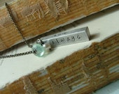 Love You Always Custom Hand Stamped Aluminum Bar Pearl and Peruvian Blue Quartz Necklace by MyBella