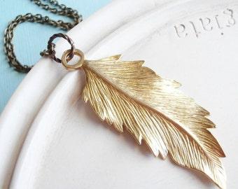 Golden Leaf Necklace - Gold Brass Botanical Jewelry