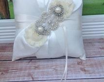 RING BEARER PILLOW /rhinestone beaded ring bearer pillow , rustic wedding , barn yard ,wedding pillow , wedding pillow