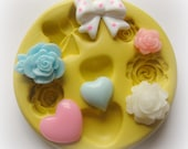 Tiny Flower Mold Daisy Rose Heart Bow Silicone Flexible Clay Resin Mould