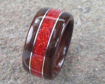 Men's Bentwood Ring Cocobolo with Red Coral inlay with Sterling Silver accents