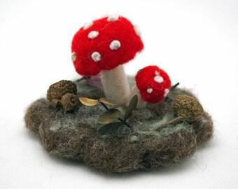 Felted Mushrooms Needle Felted Woodland Mushroom Scene Christmas Gift Wool Sculpture Table Decor