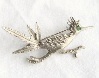 Roadrunner Silver Brooch Vintage Silver tone Road Runner Bird Figural Pin