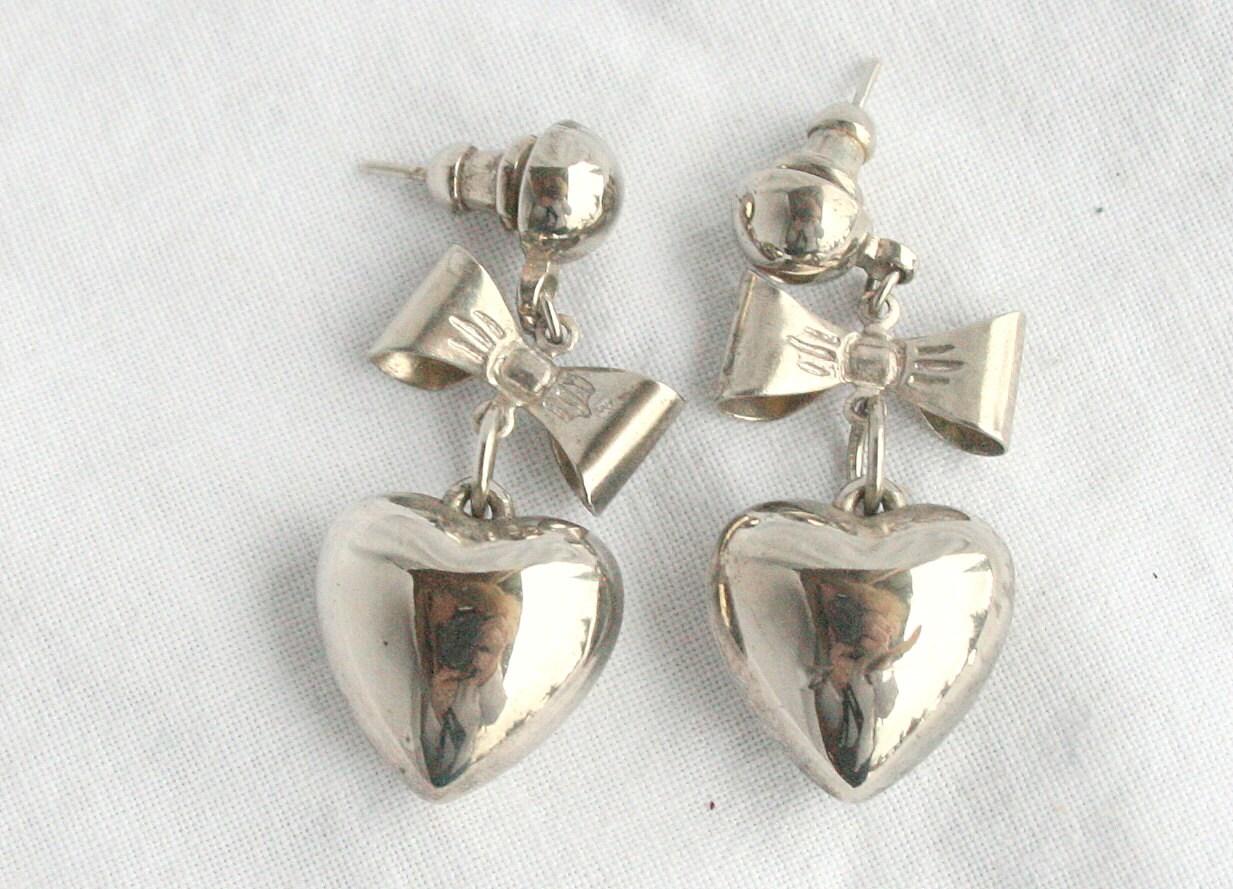 Silver Heart Bow Earrings Vintage Pierced Dangle Drops