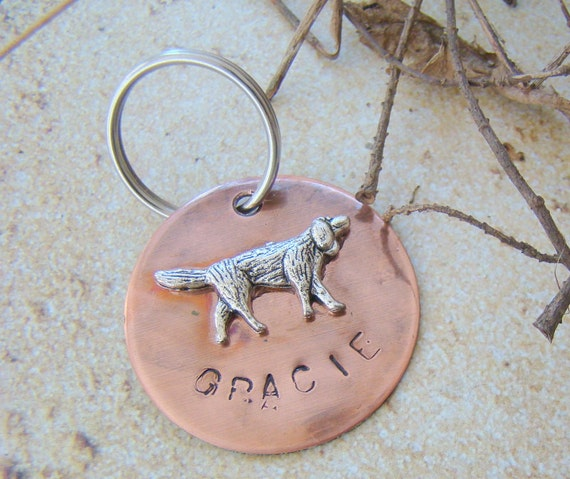 Large Pet ID Tag, Personalized Dog Tag, Rustic Dog Tag