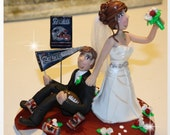 Bride Dragging Groom Wedding Cake Topper, Personalized