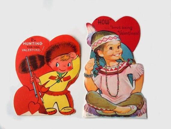 2 Unused Vintage Valentines Day Cards Indian Pioneer Cards