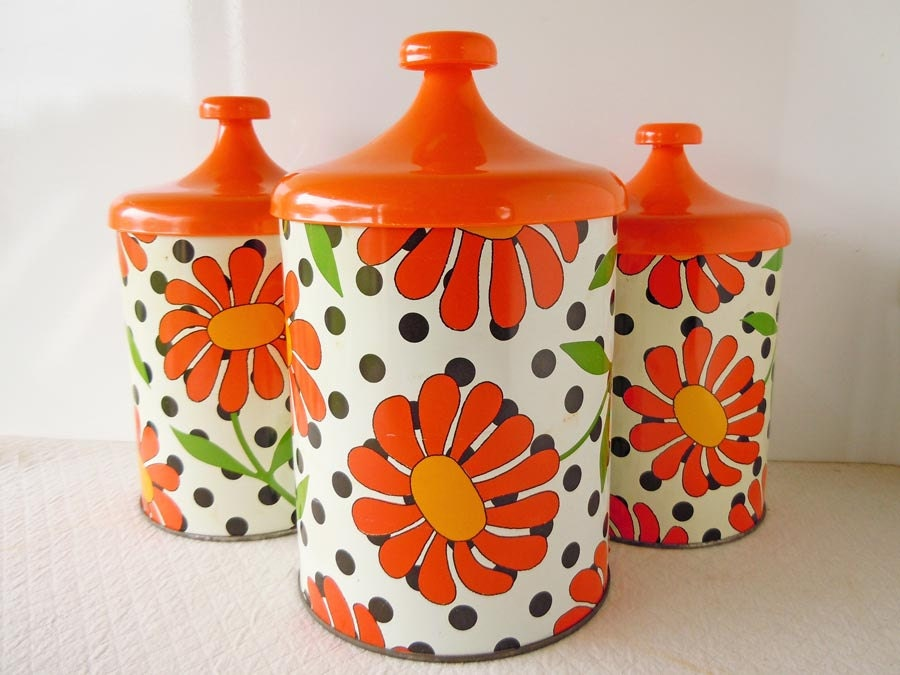 vintage 1960 kitchen floral canister set polka dots orange